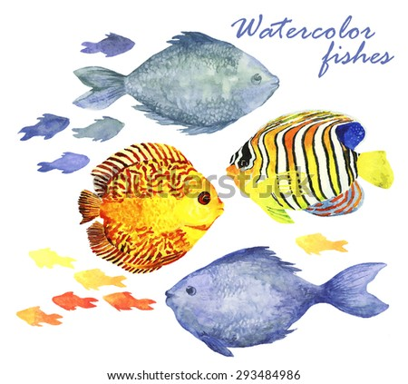 Watercolor fishes set. Collection of watercolor hand draw fish isolate on white background. Vector illustration - stock vector
