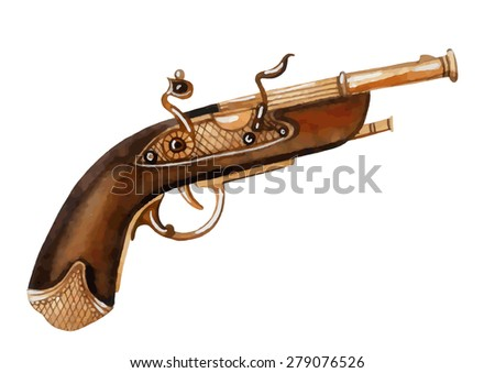 Watercolor flintlock pistol. Hand painted vector illustration.
