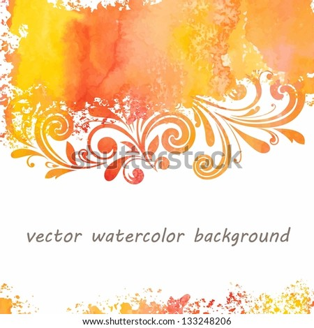Watercolor floral background. Grunge floral pattern.