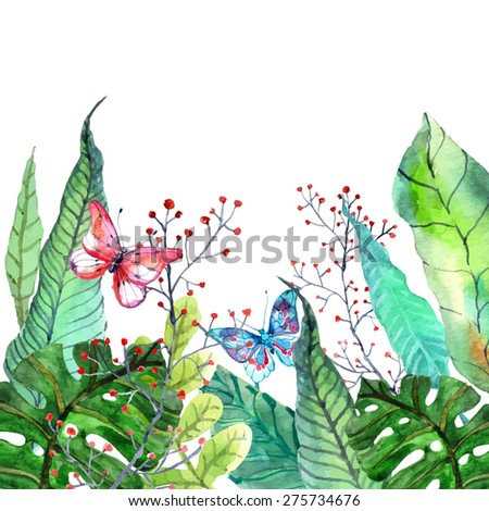 Watercolor Floral background with Tropical orchid flowers, leaves and butterflies for beautiful natural design, Vector