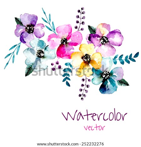 Watercolor floral composition. Romantic set of hand drawn plants, berries and flowers for design. Vector background for invitation, wedding and greeting cards.  - stock vector