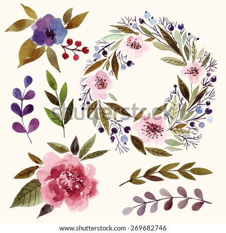 Watercolor floral elements: flowers, leaves, branches, wreath. - stock vector