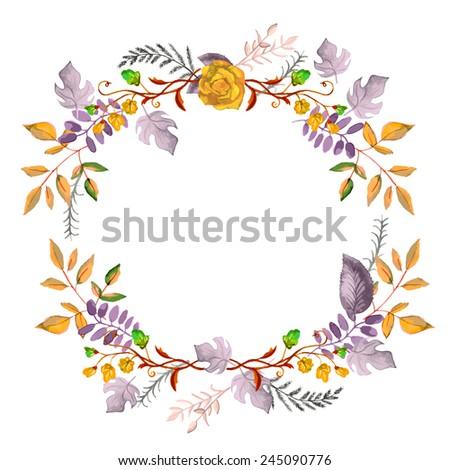 watercolor floral elements set - vector illustration - stock vector