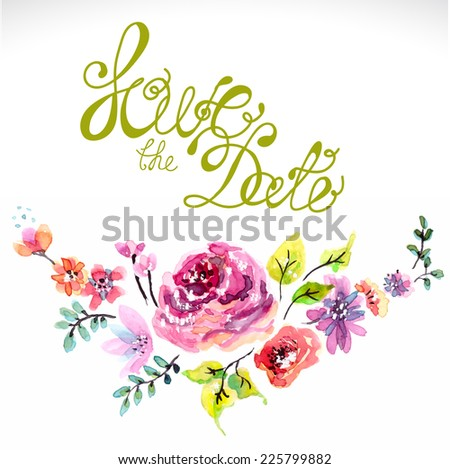 Watercolor floral frame for wedding invitation, save the date text, VECTOR - stock vector