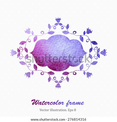 Watercolor floral frame in retro style. Vector illustration. Eps8 - stock vector