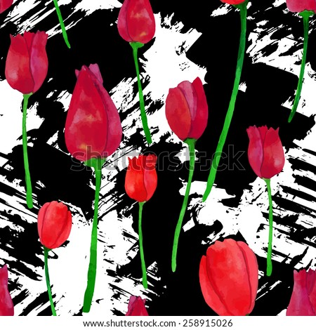 Watercolor floral seamless pattern with blots. Grunge design with beautiful tulips.  - stock vector