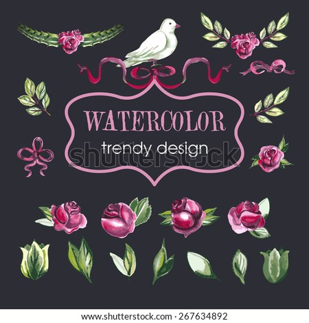Watercolor Floral Set of Design Elements, Including Rose Flowers, Leaves, Wreaths, White Dove. - stock vector