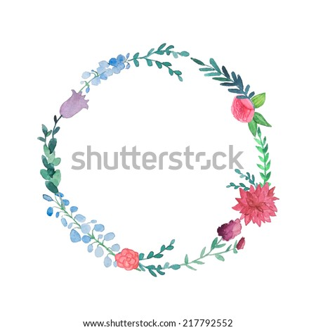Watercolor floral wreath. Vintage hand drawn vector illustration. - stock vector