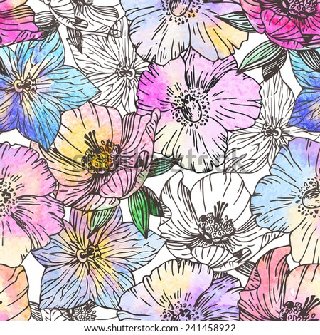 Watercolor flower seamless pattern vector - stock vector