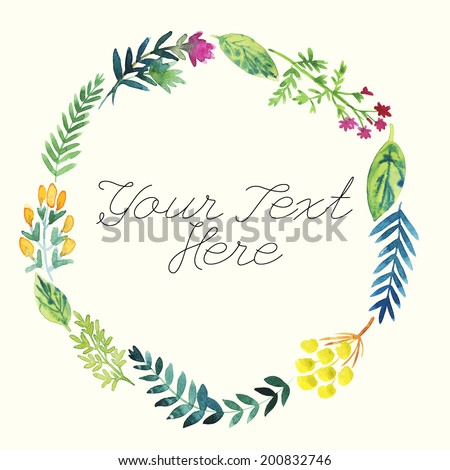 Watercolor flower vector background with place for your text