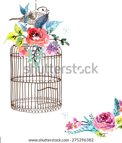 Watercolor flowers and bird cage for Happy Birthday design or wedding invitation design, save the date illustration or Valentine's day design, VECTOR - stock vector