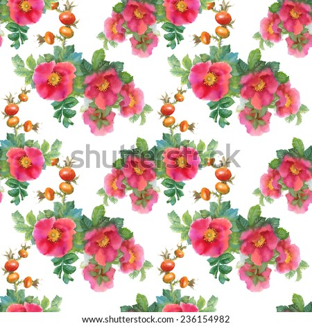 Watercolor flowers and briars seamless pattern on white background vector illustration