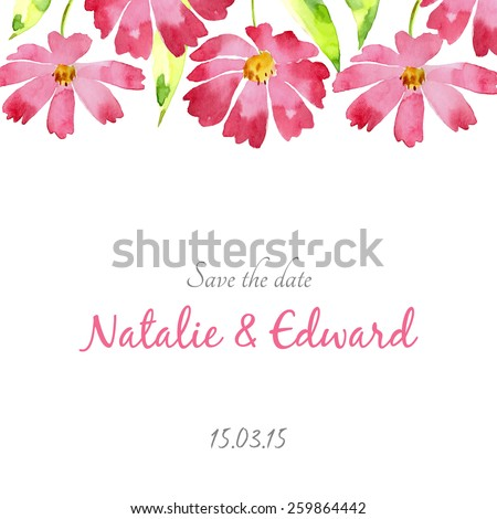 Watercolor flowers card, invitation card for wedding,birthday and summer background. - stock vector