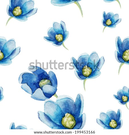Watercolor flowers collection - stock vector