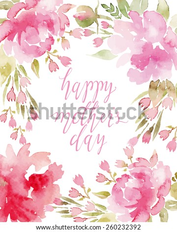 Watercolor flowers peonies. Handmade greeting cards. Spring composition. - stock vector