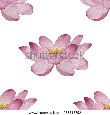 Watercolor flowers seamless pattern of water lilies. Background for your design and decor.