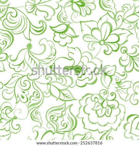 watercolor flowers seamless vector pattern - stock vector