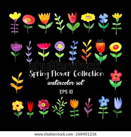Watercolor flowers set - stock vector