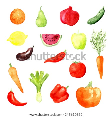 Watercolor fruit and vegetable icons, vector illustration, aubergine, carrot, cucumber, watermelon - stock vector
