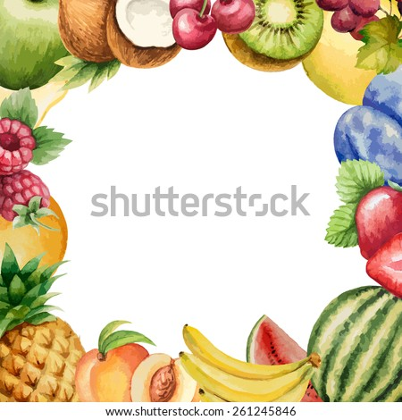 Watercolor fruit, frame for your design. Vector illustration. - stock vector