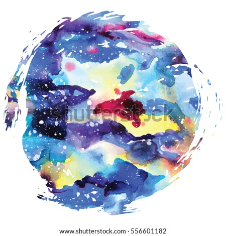 Watercolor galaxy background. Watercolor galaxy illustration. Vector trendy modern illustration