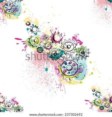 Watercolor gears seamless pattern on white background. Vector