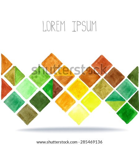 Watercolor geometric abstract background,pattern.Colorful modern texture.Triangle,rhombus,square tile.Natural Yellow,brown ,green colors.Wallpaper,backdrop mosaic. - stock vector