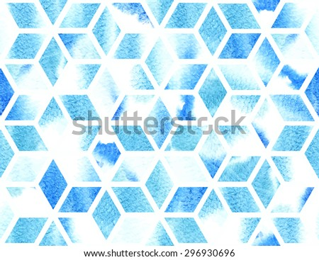 Watercolor geometric pattern in blue. Seamless abstract background. Appropriate to winter and Christmas design. EPS10 vector illustration. - stock vector