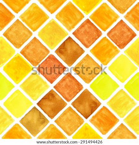 Watercolor geometric seamless pattern.Colorful modern abstract summer  background with  rhombus,square tile.Natural Yellow,brown colors.Wallpaper,backdrop,fabric,mosaic. - stock vector
