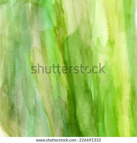 Watercolor green background. Vector  - stock vector