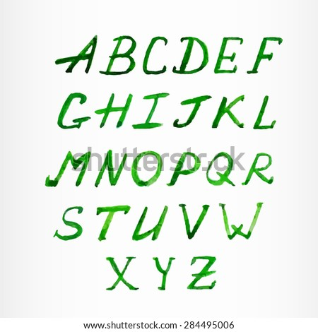 Watercolor green calligraphic alphabet. Vector illustration for your design