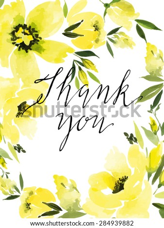 Watercolor greeting card flowers. Handmade. Congratulations. Thank you card. - stock vector