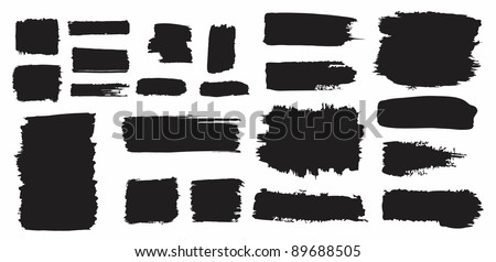 Watercolor grunge brush strokes and splashes set - stock vector