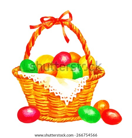 Watercolor hand drawing illustration eggs in basket