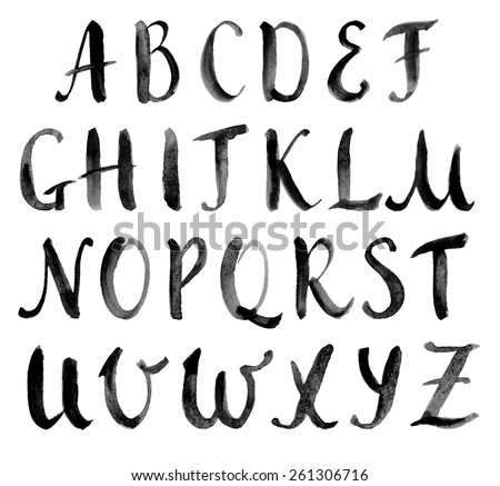 Watercolor hand drawn alphabet, capitals. Vector illustration. Brush painted letters. - stock vector