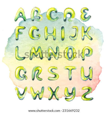 Watercolor hand drawn alphabet on watercolor multicolored spot - stock vector