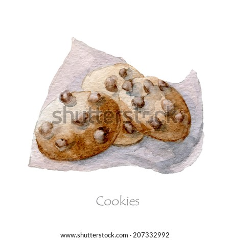 Watercolor hand drawn chocolate chip cookies, vector eps10 - stock vector