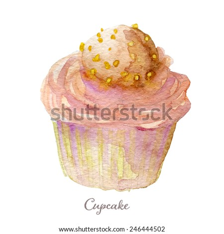 Watercolor hand drawn cupcake. Vectorized eps10 - stock vector