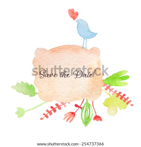Watercolor hand drawn invitation. Save the date! Spring or summer design wedding or greeting cards, eps10 - stock vector