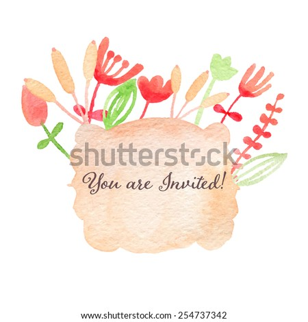 Watercolor hand drawn invitation. You are invited! Spring or summer design wedding or greeting cards, eps10 - stock vector