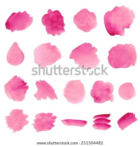 Watercolor hand drawn isolated pink brush spots and strokes on white background. Traced vector wet texture illustration, eps10. Design painted stains element set for decor, scrapbook, banner, card. - stock vector
