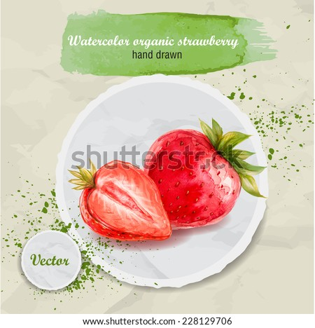 Watercolor hand drawn red strawberry on round paper background. Watercolor drops. Organic food vector illustration. - stock vector
