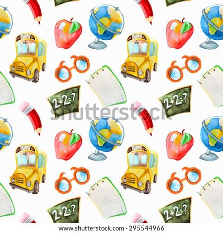 Watercolor hand drawn seamless of  school items. Back to school pattern. Globe, school bus, apple, glasses, pencil, notebook, school board, blackboard, math. - stock vector