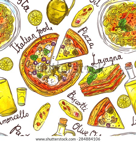 Hand Drawn Seamless Pattern Of Italian Food With Pasta, Pizza ...