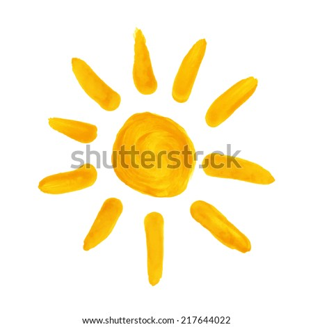 Watercolor hand drawn sun. Vector illustration - stock vector