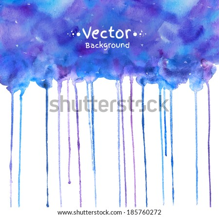 Watercolor hand painted background with smudges. Vector EPS 10. - stock vector