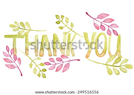 Watercolor Hand painted Thank you card with floral elements. Greeting card or Invitation.  - stock vector