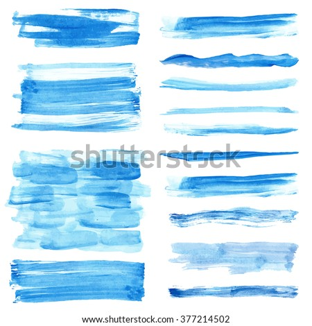 Watercolor hand painting brushes,textures.Stains,drops spot,blue wavy lines,cyan color borders set.Vector Bright design template.Blur,summer background.Holiday,vacation artistic texture,sea ,water - stock vector