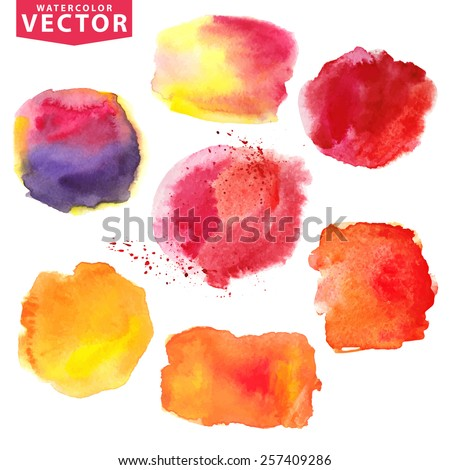Watercolor hand painting  texture ,stains,splash,spot,design elements. Summer vector.Bright design template.Vintage holiday background.Warm sunny colors : Orange,red,magenta.Artistic design elements - stock vector