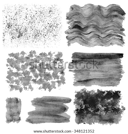 Watercolor hand painting textures.Stains,drops spot,splashes set. Grey,black color.Bright design template.Vintage blur vector background.Graphics, monochrome artistic textures,muck,dirt - stock vector